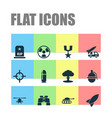 warfare icons set collection of dangerous order vector image vector image