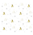 white seamless pattern with golden christmas trees vector image vector image