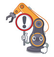 with sign industrial robotic hand on mascot shape vector image