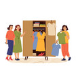 woman and wardrobe styling girl female try vector image