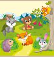 Cute Cartoon Forest Animals vector image