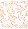 leaves seamless outline orange vector image