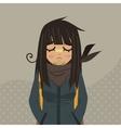 Cartoon sad girl mascot vector image