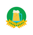 beer pitcher in wheat emblem vector image vector image