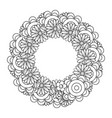 black and white doodle wreath vector image vector image