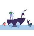 business people floating on the ship leadership vector image vector image