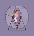businesswoman running in a mouse wheel vector image vector image