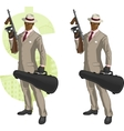 Cartoon afroamerican mafioso with Tommy-gun vector image vector image
