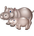 cartoon mother and baby hippo vector image vector image