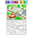 cartoon train and car coloring black and white vector image vector image