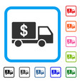 cash delivery car framed icon vector image vector image