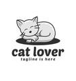 cat lover logo vector image vector image