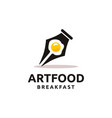 creative pen and egg logo design vector image vector image