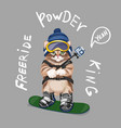 cute cartoon cat on snowboard freeride slogan vector image vector image