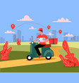 delivery man riding motorbike vector image vector image