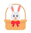 easter bunny in basket flat icon easter vector image