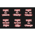 Fight for slogans on black vector image vector image