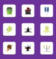 flat icon festival set of terrible halloween vector image vector image