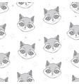 flat style seamless pattern with raccoon isolated vector image vector image