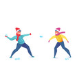 flat young men santa hat snowballing vector image