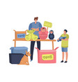 flea market concept man and child sell vector image