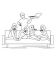friends at coutch outline vector image vector image