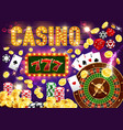 gambling games and casino roulette and poker vector image vector image