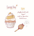 hand drawn cupcake poppy flavor vector image