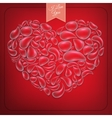 Heart from water drops on red background EPS 10 vector image vector image
