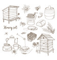 honey production beekeeping or apiculture set vector image vector image