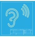 Human ear sign White section of icon on blueprint vector image