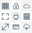 interface icons line style set with calculate vector image vector image