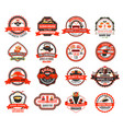 japanese sushi badge of asian cuisine restaurant vector image vector image