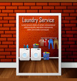 laundry service banner design on brick wall vector image vector image