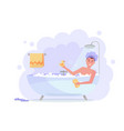 man in shower cap taking bath with shower vector image vector image