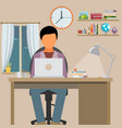 man is working with laptop flat modern of working vector image