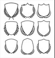 medieval shields and laurel wreaths collection 1 vector image vector image