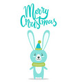 merry christmas rabbit title vector image vector image