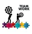 pictogram gears puzzle teamwork support design vector image vector image