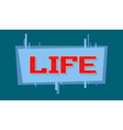 pixel life text on blue background vector image vector image