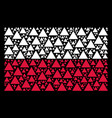 poland flag pattern of filled triangle icons vector image vector image