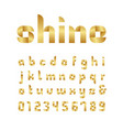 ribbon font alphabet with gold effect letters and vector image