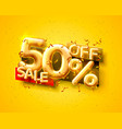 sale 50 off ballon number on yellow background vector image vector image