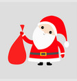 santa claus holding carrying sack gift bag red vector image