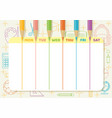 school timetable color pencil drawing lines vector image vector image