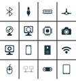 set of 16 computer hardware icons includes radio vector image