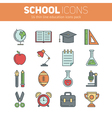Set of school thin lined flat icons vector image vector image