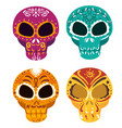 set skulls with ornamental decoration to day od vector image