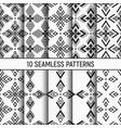 set ten monochrome seamless patterns modern vector image vector image