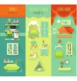 Set with Cabinet Childrens and Living rooms vector image